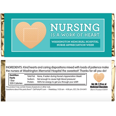 Nurse Appreciation Week Custom Candy Bar Wrapper