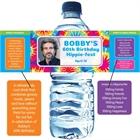 Hippie Tie Dye Photo Water Bottle Label