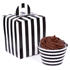 Black and White Striped Cupcake Wrapper & Box Kit