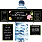 Watercolor Flowers Graduation Water Bottle Label