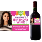 Birthday Balloons Pink Bottle Label, Wine Champagne