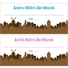 Jerusalem Skyline Mitzvah Seating Card