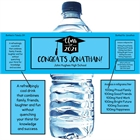 Graduation Cap Blue Theme Water Bottle Label