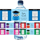 Graduation Owl Theme Water Bottle Label