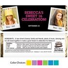 Sweet 16 Polaroid Photo Theme Candy Bar Wrapper