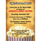 Hollywood Popcorn Party Invitation