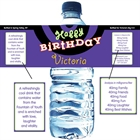 Birthday Swirl Custom Water Bottle Label