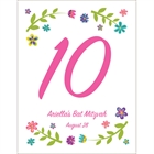 Bat Mitzvah Torah Flowers Theme Table Number