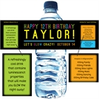 Glow Party Water Bottle Label