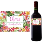 Tropical Flower Wine Champagne Bottle Label