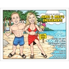 Beach Couple Semi Custom Caricature, Tropical Drinks