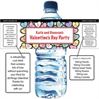 Valentine's Day Candy Hearts Water Bottle Label