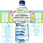 Graduation Luau Hibiscus Theme Water Bottle Label