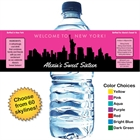 Pick Your Skyline Theme Water Bottle Label