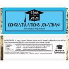 Graduation Cap Blue Theme Candy Bar Wrapper