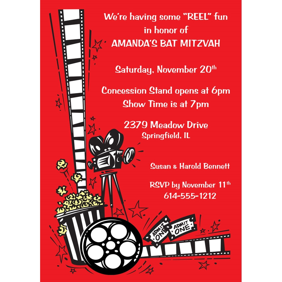 Hollywood Film Reel Party Invitation