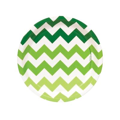 Chevron Green Dessert Plates (8)