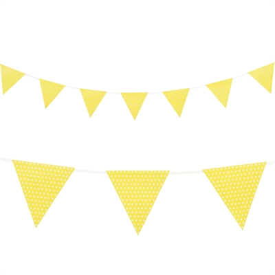 Yellow with Polka Dots Paper Flag Banner