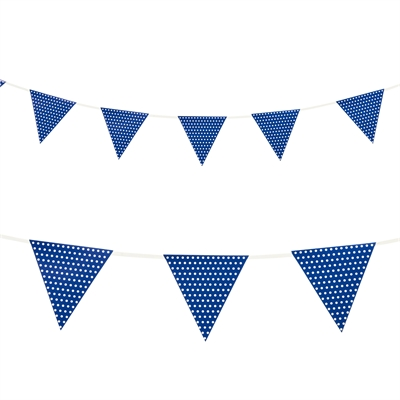 Blue with Polka Dots Paper Flag Banner