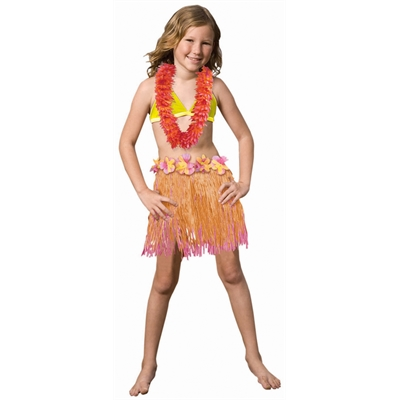 Child Two Tone Pink and Orange Grass Skirt