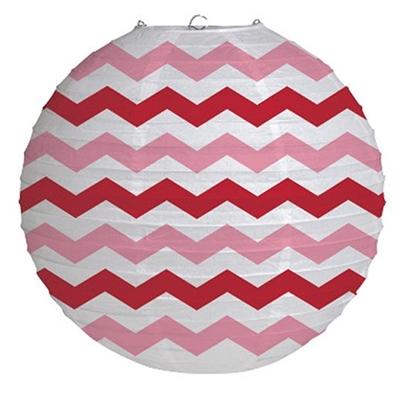 Red Chevron Round Paper Lantern