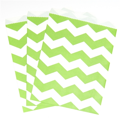 Lime Green Chevron Paper Treat Bags (10)