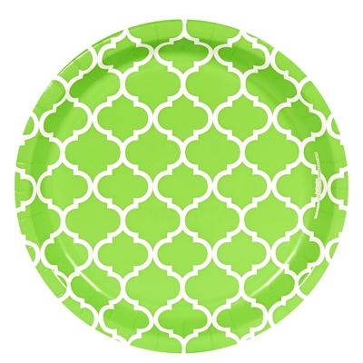 Lime Green Quatrefoil Dinner Plates (8)