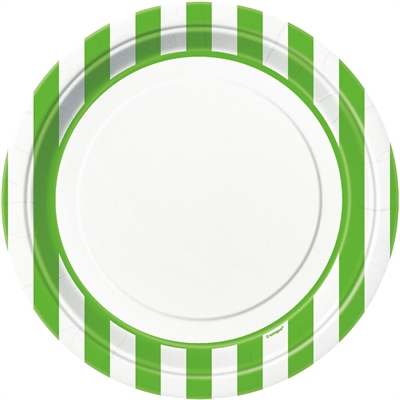 Lime Green Stripe Dinner Plates (8)