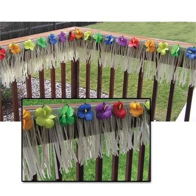 Luau Deck Fringe with Hibiscus Flowers