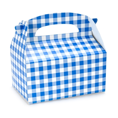 Blue Gingham Empty Favor Boxes (4)