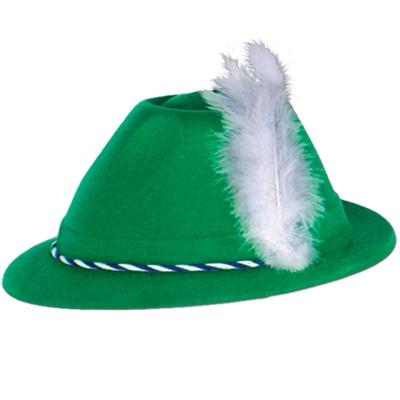 Oktoberfest Green Velour Tyrolean Hat Adult