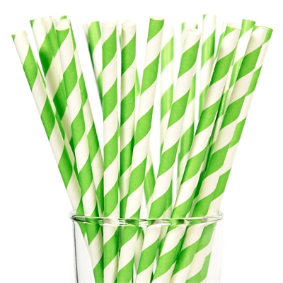 Lime Green Paper Straws (25)