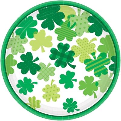 St. Patrick's Day Shamrocks Paper Dinner Plates (18)