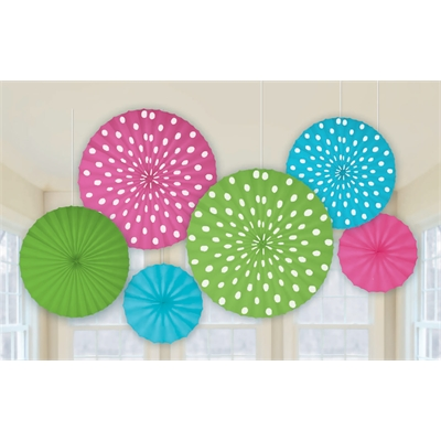 Dots Printed Paper Fan Decorations