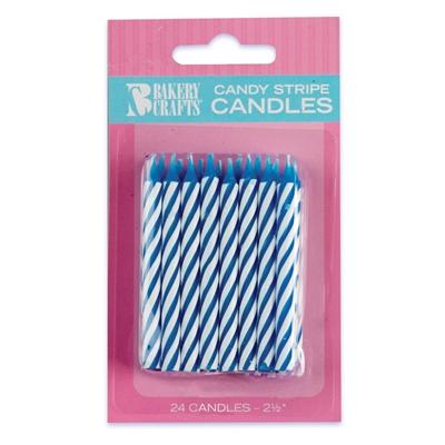 Blue Stripe Birthday Candles (24)