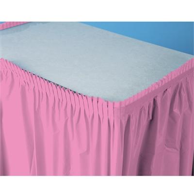 Pink Plastic Table Skirt