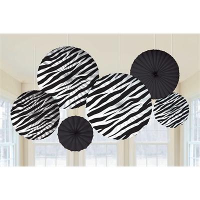 Zebra Printed Paper Fan Decorations