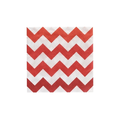Red Chevron Beverage Napkins (20)