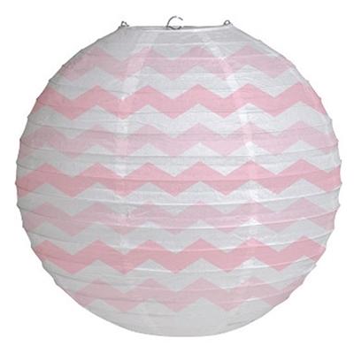 Classic Pink Round Paper Chevron Lantern
