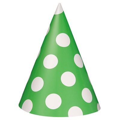 Lime Green Party Hats with White Dots