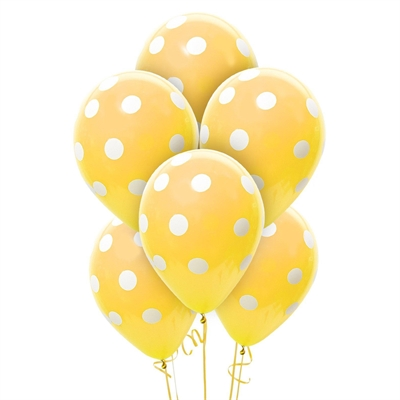 Gold and White Dots Latex Balloons