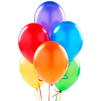 Metallic Rainbow Latex Balloons (6)