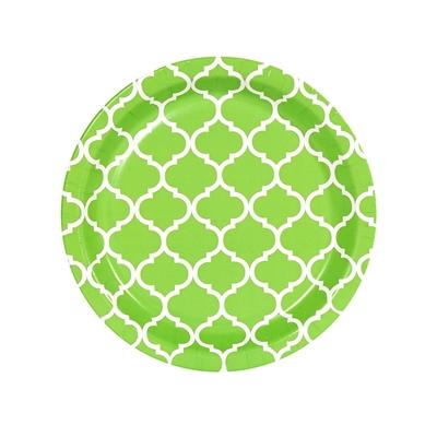Lime Green Quatrefoil Dessert Plates (8)