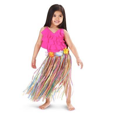 Child Grass Hula Skirt with Floral Waistband