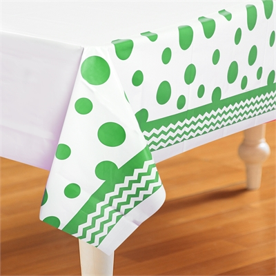 Chevron and Dots Green Plastic Tablecover