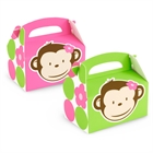 Pink Mod Monkey Empty Favor Boxes (4)