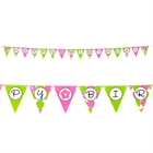 Pink Mod Monkey Ribbon Flag Banner