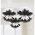 Black & White Fluffy Tissue Hanging Decorations