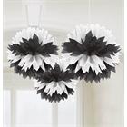 Black & White Fluffy Tissue Hanging Decorations
