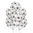 Silver with Black Dots Latex Balloons (6)